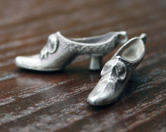 Charm Shoe Lady Victorian - Solid Silver Victorian Lady Shoe Charms Pair