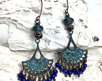 Lapis Lazuli Earrings. Rustic Genuine Gemstone Copper Chandelier, Boho Blue Czech Glass Dangle, Unique Artisan Jewelry Gift for Her Wife Mom