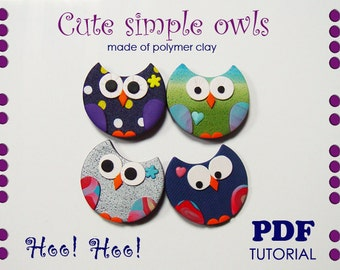 Polymer clay tutorial, Magnets and key chains, Cute simple owls, Decorative owls, PDF instruction, DIY craft idea, DIY clay tutorial, Gifts