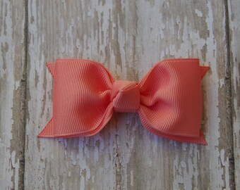Coral Tuxedo Style Toddler Hair Bow 3 Inch Alligator Clip Baby Hairbow Coral Toddler Bow Coral 3 Inch Baby Bow