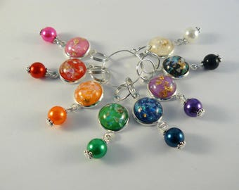Colorful Cabochon Markers, Stitch Markers, Rainbow Counters, Crochet Markers, Knitting Accessories