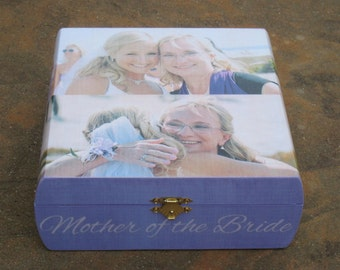 Mother of the Bride Gift, Personalized Wedding Keepsake Box, Photo Memory Box, Parent's Thank You Gift