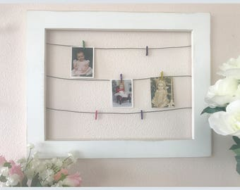 Framed Wire Photo Display with Mini Clothespins ~ display photos / kids artwork / cards and more ~ wall art ~ art display ~ photo frame