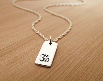 Om Necklace, Ohm Necklace, Sterling Silver Necklace, Yoga Necklace, Om Ohm Chain, Yoga Zen Jewelry, Ohm Om Charm Pendant