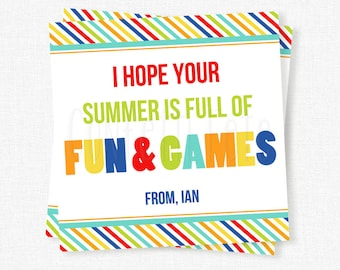 Summer Fun & Games Tag, End of School Year Tag, Last Day of School Gift Tag, Printable Card Games Tag