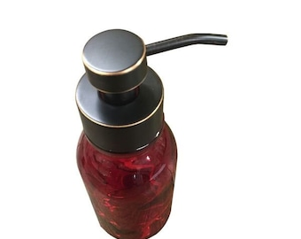 Red Foaming Soap Dispenser - Inspired by the Vintage Milk Bottle - 16oz Glass Bottle with Soap Pump For Foaming Soap