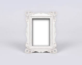 Antique White Decoration, White Adorned Picture Frame, White Shabby Chic Frame with Adornments, Ornate Baroque Photo Frame, Vintage Frame