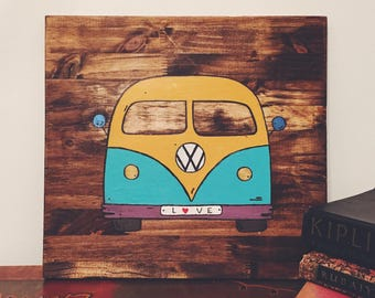 Painted VW Bus wall art. Wooden sign.