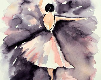 Ballerina  Watercolor PRINT, ballerina painting, wall hanging, girls room decor