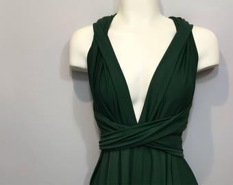 Hunter Green Long Convertible Dress / Custom Length / Plus Size & Maternity included