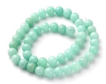 Strand 40+ Turquoise Amazonite 8mm Plain Round Beads Y08010