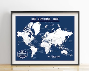 Travel map etsy personalized world push pin map print only travel map map poster gumiabroncs Choice Image