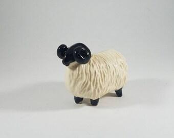 Ceramic Ram Miniature  |  Vintage Sheep Figurine  |  White Ceramic Sheep  |  Ceramic Sheep  | Big Horn Sheep | Billy Goat | Miniature Animal