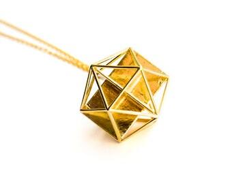 Golden Icosahedron Pendant