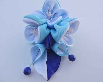 Kanzashi fabric flower hair clip. Kanzashi hair clip. Japanese hair clip. Kanzashi hair flower.White and sky Blue.