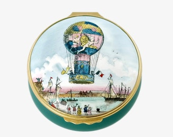 Vintage Halcyon Days Balloon Aero Montgolfiere Lidded Trinket Box