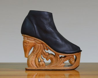 Horse - Hand Carved Wood Platform Wedge Heel
