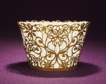25 STANDARD Spring Vines Laser Cut Cupcake Wrappers from Paper Orchid - Choose from 3 stock colors