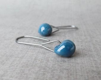 Steel Blue Minimalist Dangles Oxidized Silver, Blue Earrings, Lampwork Earrings Blue Glass, Sterling Silver Oxidized Earrings, Wire Dangles