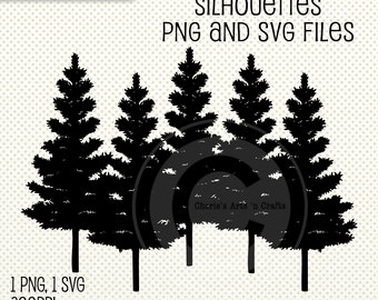 Row of Pine Trees Silhouettes | PNG and SVG Files | Digital Scrapbooking  Elements | Tree