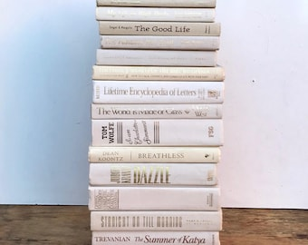 Lot Vintage White Books. BOOK STACK White Book Bundle. Wedding. Party Photo prop. Decor Party Decor metallic gold lettering