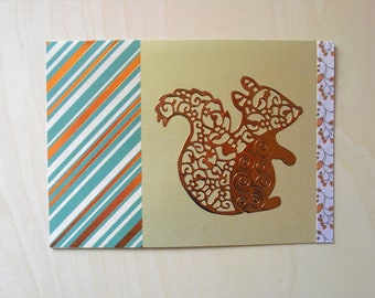 Card squirrel bronze / gold all occasions