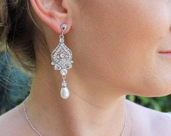 Bridal Chandelier Earrings, Swarovski Crystal & Pearl Wedding Earrings, Wedding Jewelry, Bridal Jewelry, Bridesmaid Earrings LUCY
