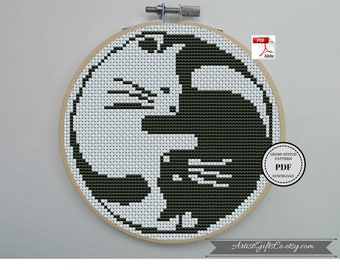 Black and White Yin Yang Cats Counted Cross Stitch Pattern in PDF for Instant Download Balance Silhouette Funny Xstitch Counted Cross Stitch