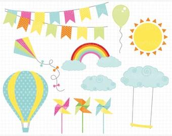 Clipart - Breezy Summer (SB#1) - Summer Breeze / Hot Air Balloons, Pinwheels - Digital Clip Art (Instant Download)