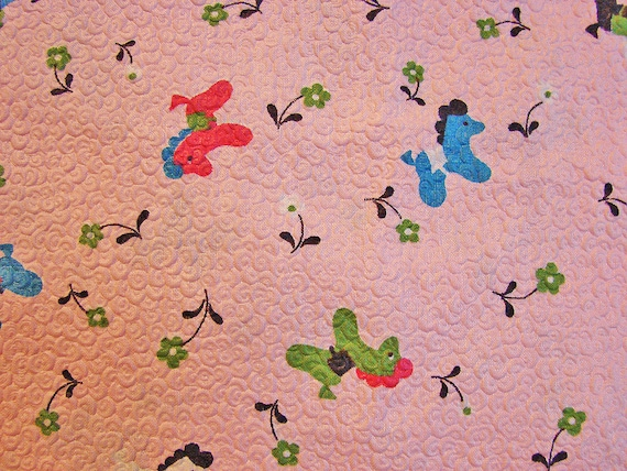 Vintage fabric 1950s pink baby fabric cotton plisse fabric for Baby nursery fabric yard