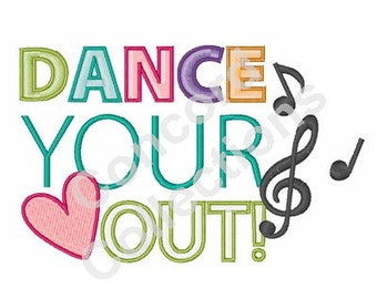 Music And Dance Machine Embroidery Design
