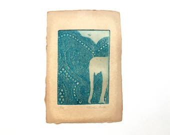 original etching - elephant, special edition printed on handmade paper