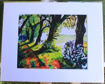 Spring Pathway oil painting *matted print*