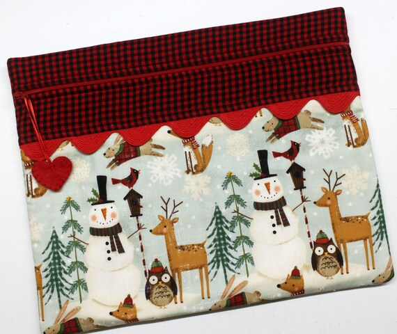 Woodland Snowman Cross Stitch, Embroidery Project Bag