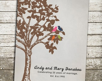 25th ANNIVERSARY Gift Print - Silver Gift - Personalized Print with Birds in a Tree - Custom Art