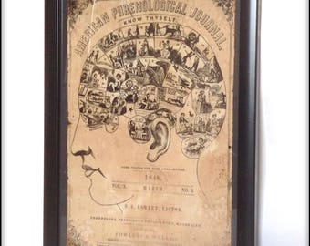Aged reproduction cover from The American Phrenology Journal dated March 1848 - in frame.