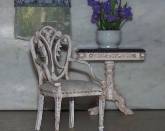 Chair for 1:12th Dollhouse.  Carved Chair Painted and Glazed.  Bespaq.