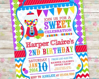 Candyland Sweet Celebration Birthday Invitation Candy Invite with Gumball Chevron Blue Printable DIY