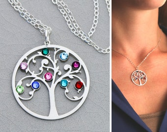 Family Tree Necklace • Birthstone Tree Pendant Mother's Day Gift Family Tree Jewelry Family Necklace Grandmother Gift Mom Birthstone BB_18