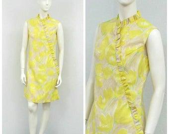Vintage 60s Mod Yellow Shift Dress, Floral Dress, Hawaiian Dress, Ruffle Dress, Sleeveless Dress, Summer Dress, Knee Length Dress