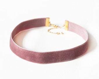 BLOSSOM - Stretchy Dusty Rose Velvet Choker Necklace