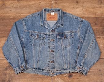 "Mens Vintage Levis Red Tab 70598 Stonewash Blue Denim Jacket XL 50"" R5550"