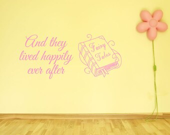 "Children's Wall Art ""Happily Ever After..."", Wall Sticker, Vinyl Decal Modern Transfer."