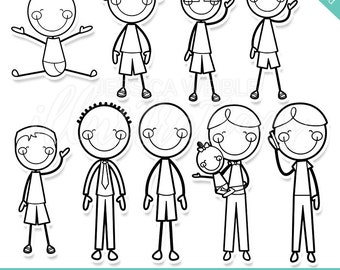 We Are Family Boys Digital Stamps, Boys Blackline, Cute Boy Digital Stamps, Boy Line Art, B&W Boy Line Art, Boy Stick Figure Stamps