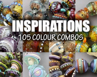 Lampwork Tutorial, INSPIRATIONS by Magma Beads, 105 colour combinations.