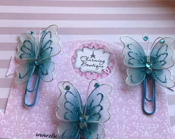 Teal butterfly paperclips