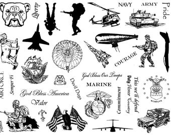 8 1/2 x 11 MILITARY rubber stamp sheet, soldier, army, navy, marines, air force, armed services, fighter jets, Crazy Mountain Stamps CMS#4