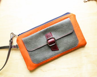 Womens Leather Wristlet Wallet, Small Handbag Clutch, Best Friend Birthday Gift, Smartphone Wallet with Strap - The Lulu Bag in Tangerine
