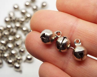20x Small Silver coloured bell charms