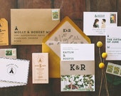Rustic and Woodland Watercolor Camp Vibes Wedding Invitation: Wes Anderson Inspired